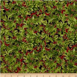 Kaufman Holiday Flourish Metallics Large Leaves Black