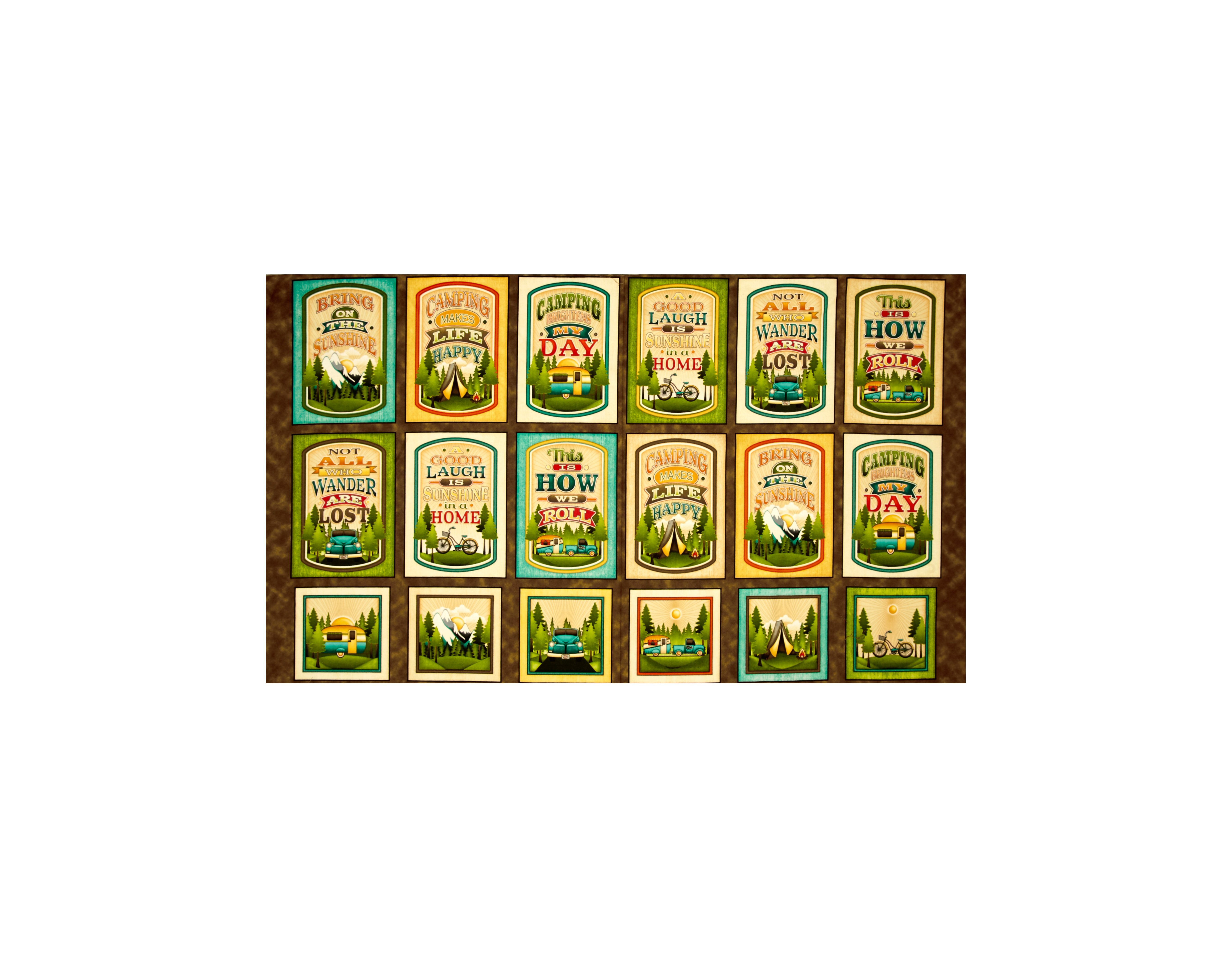 Image of Outdoor Adventure Camping Mottos Picture 24 In. Patches Multi Fabric