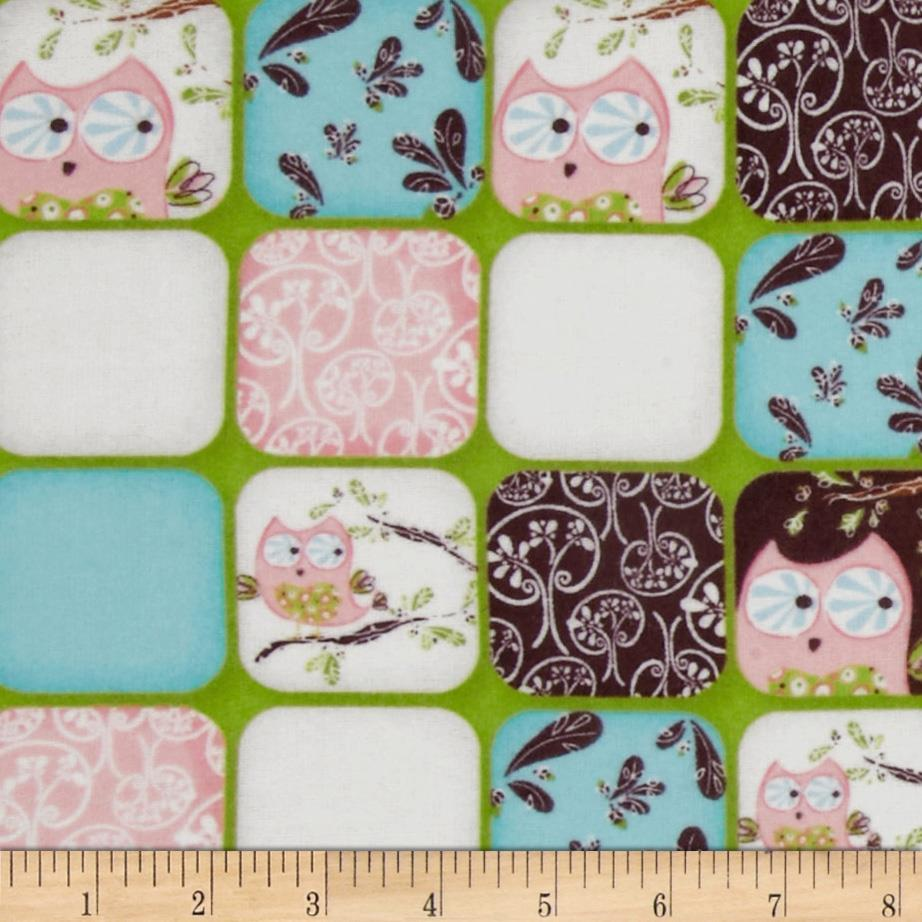 Whoo's Cute Flannel Squares Green