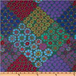 Kaffe Fassett Prints Collection Tile Flowers Green