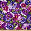 Timeless Treasures Viola Large Packed Pansy Purple