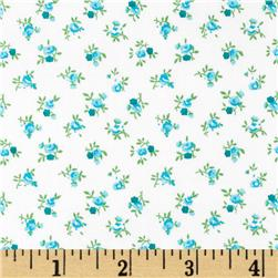 108'' Quilt Backing Rosebuds Teal Fabric