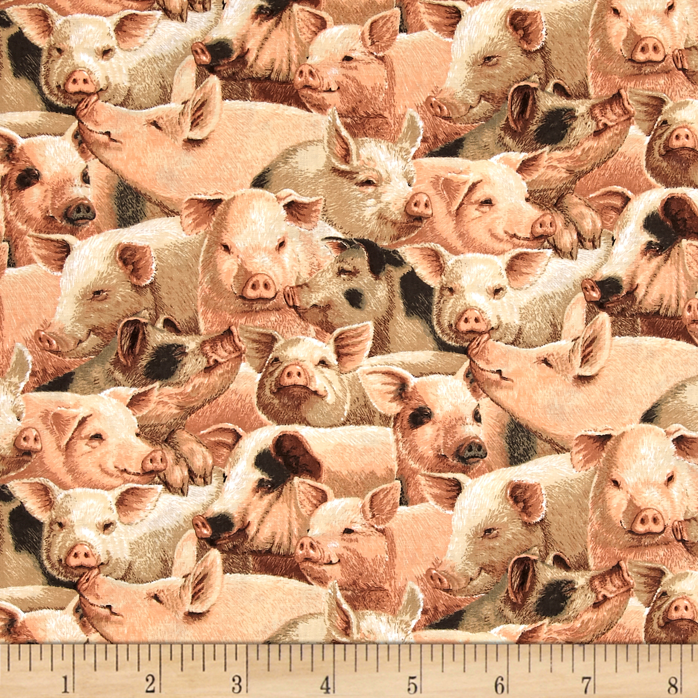 On the Farm Niche Cotton Packed Pigs Fabric by Fabric Traditions in USA