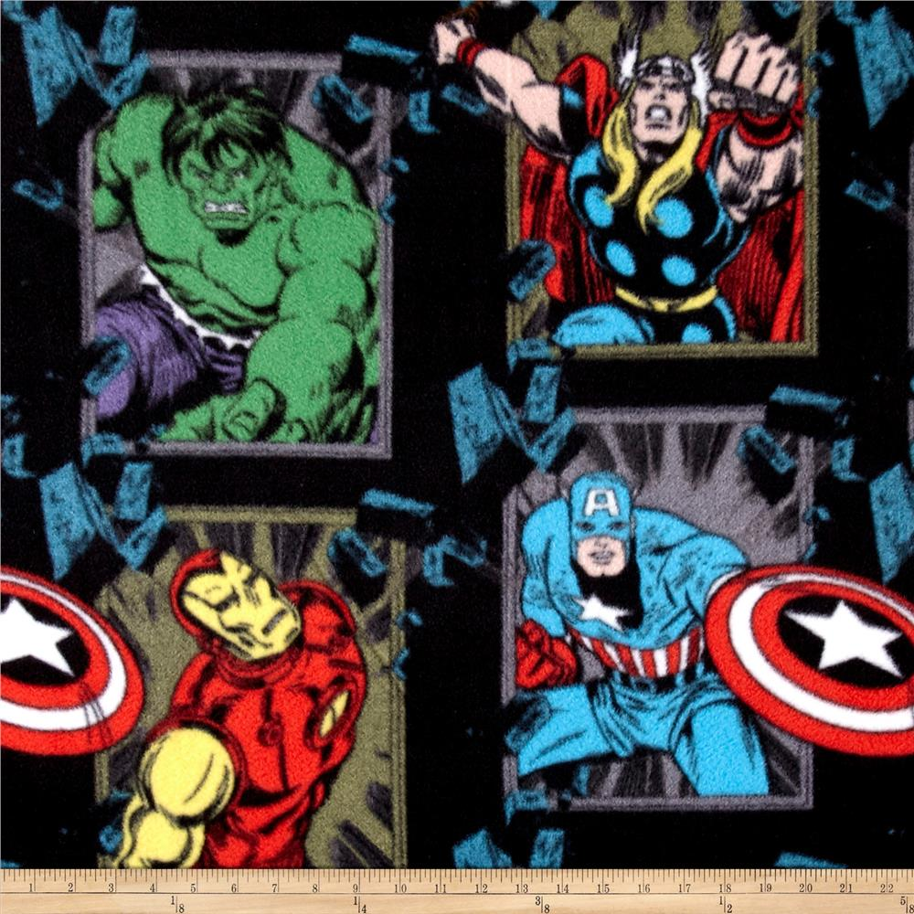 Marvel Busting Out Fleece Black Fabric