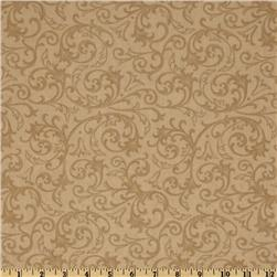 Baroque 108'' Quilt Backing Flourish Taupe Fabric