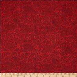Essentials Swirly Scroll Red Fabric