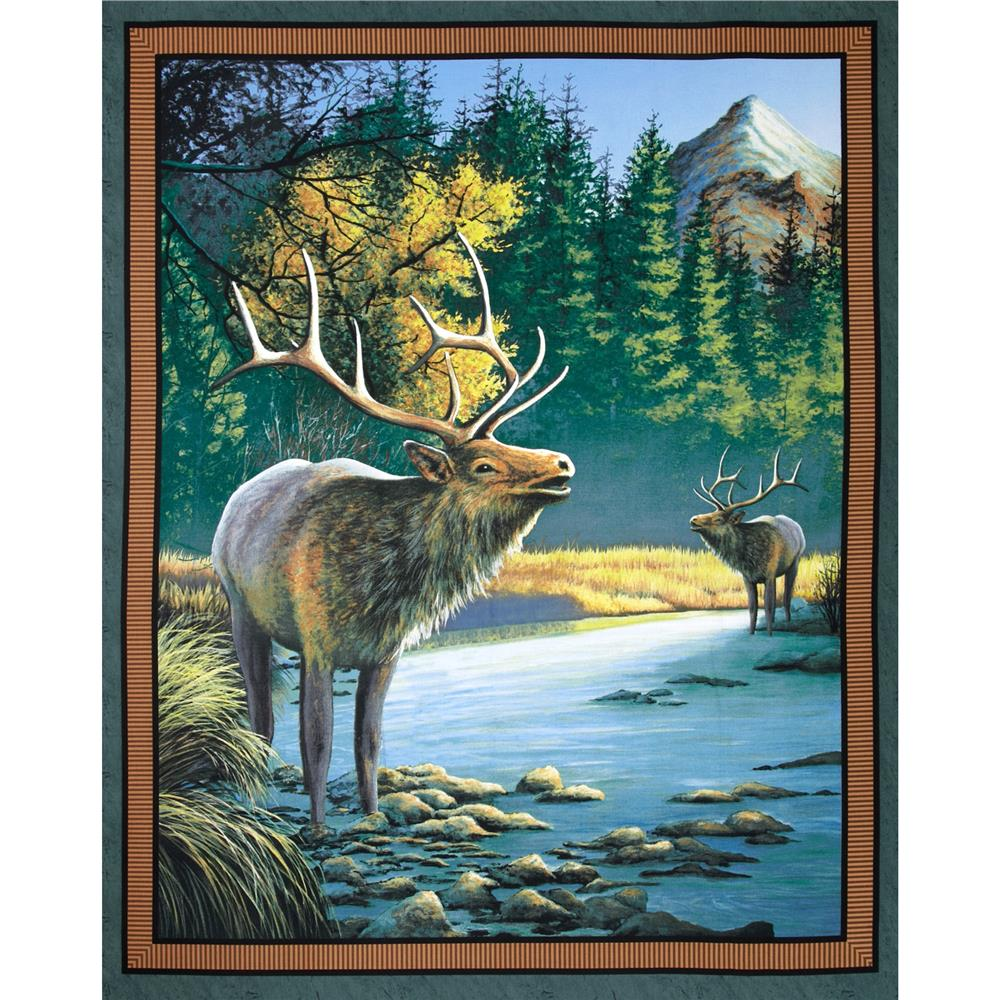 Wild Wings Mountain Sky Elk Wall Panel Dark Green