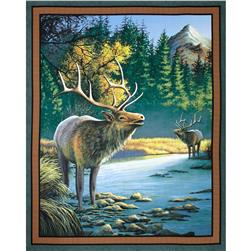 Wild Wings Mountain Sky Elk Wall Panel Dark
