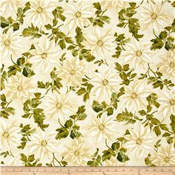 Winter Blossom Metallic Large Poinsettia Cream/Gold