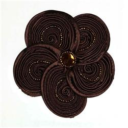 Victoria 3-1/2'' Silky Ribbon Brooch Chocolate