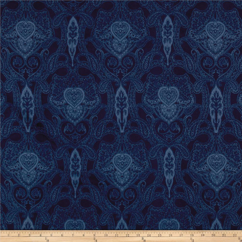 Newport Flannel Mono Paisley Navy Fabric