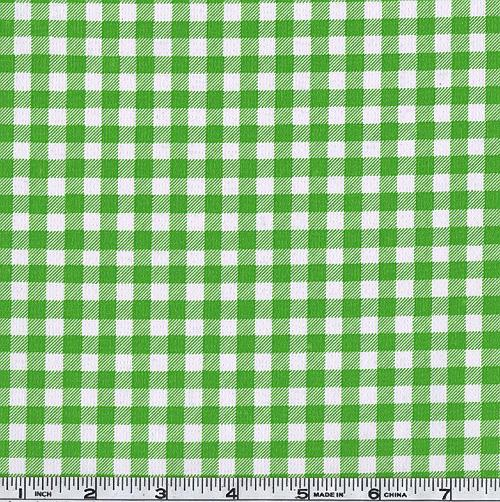 Oil Cloth Gingham Kiwi Green Fabric By The Yard