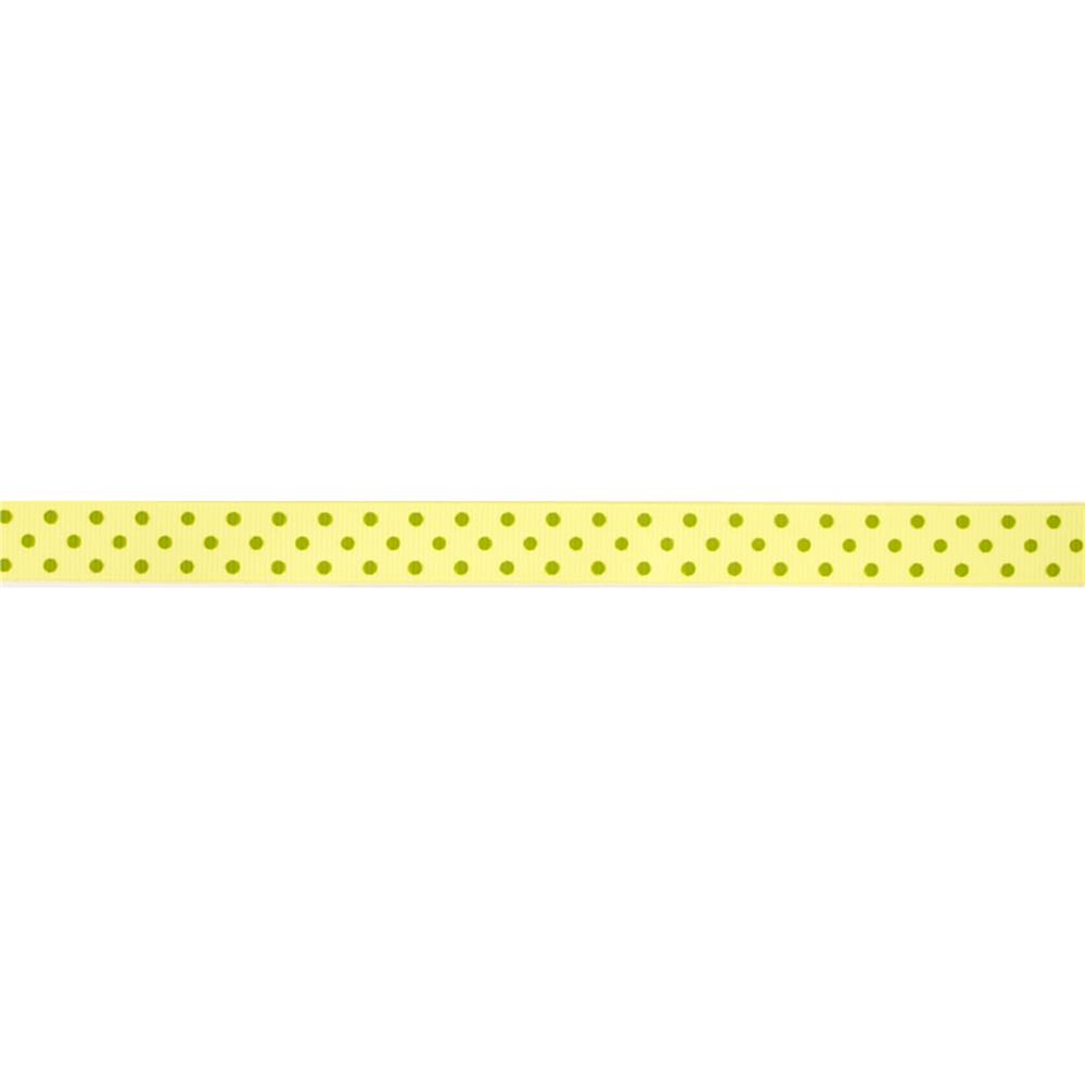 "May Arts 5/8"" Grosgrain Dots Ribbon Spool Yellow/Green"