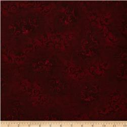 "108"" Essential Flannel Quilt Backing Scroll Burgundy"