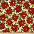 Kaufman Holiday Flourish Metallic Poinsettias Holiday