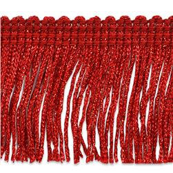 2'' Metallic Chainette Fringe Trim Red