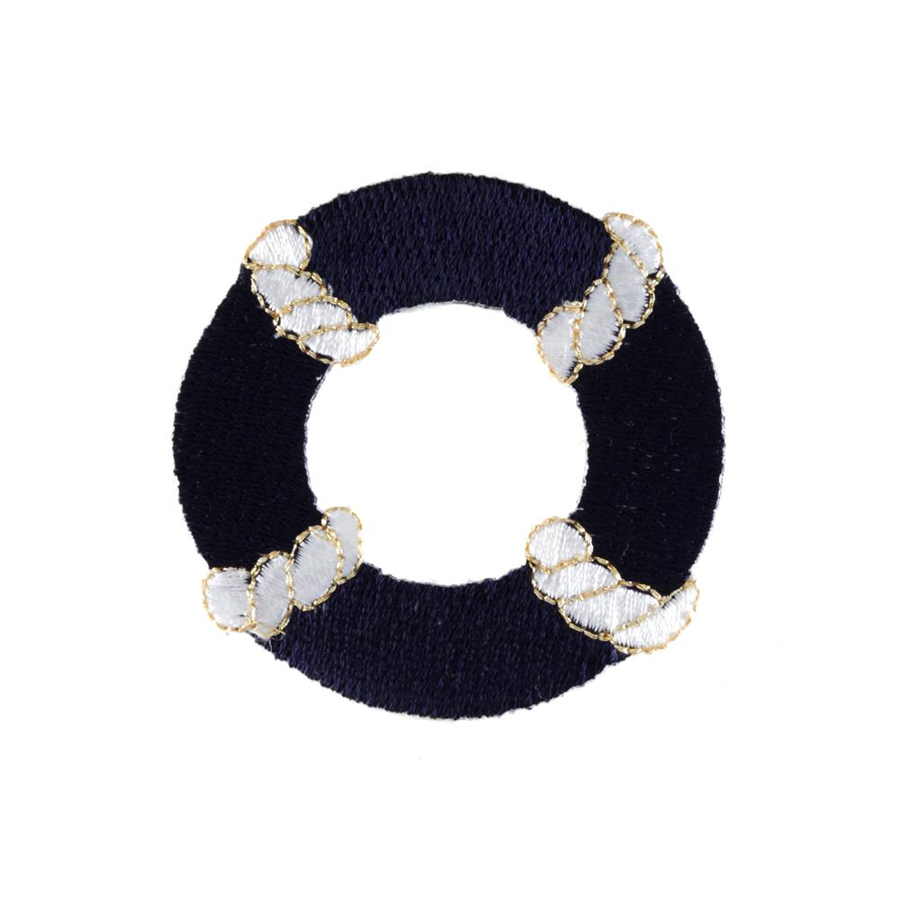 Life Preserver Applique Navy/Gold