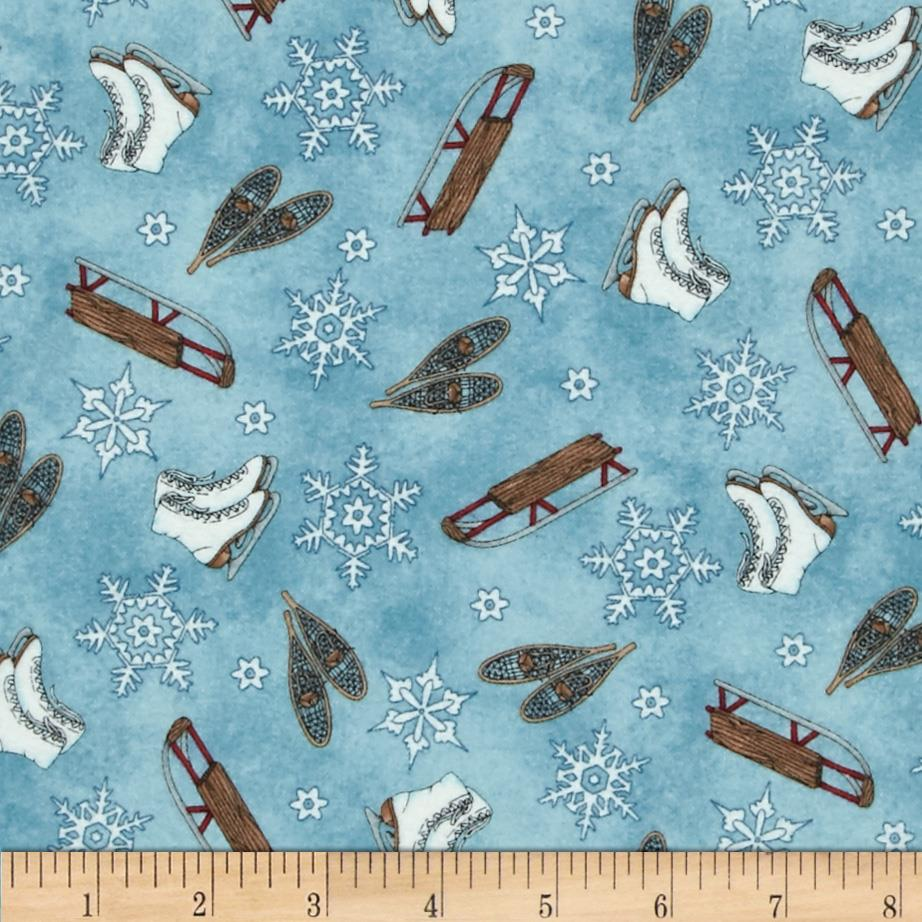 Frolic in the Snow Flannel Sleds & Skates Dark Blue