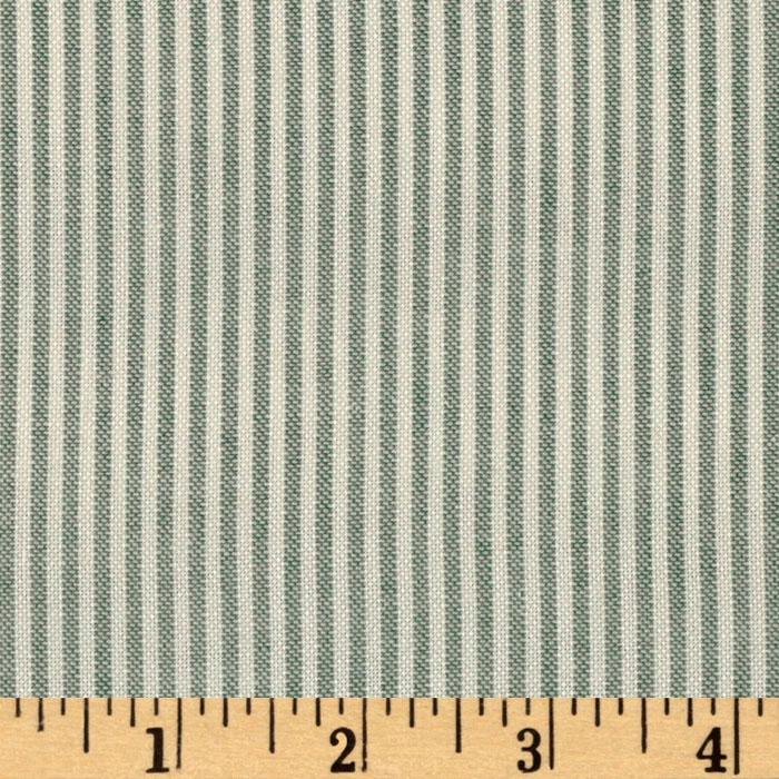 Cotton Blend Yarn Dyed Stripe Shirting Green/White