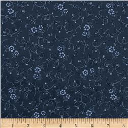 "108"" Wide Tonal Florals & Swirls Quilt Back Navy"