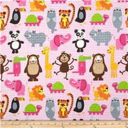 Comfy Flannel Animals on Gingham Pink