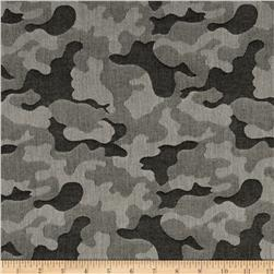 Cotton Chambray Camo Olive Green