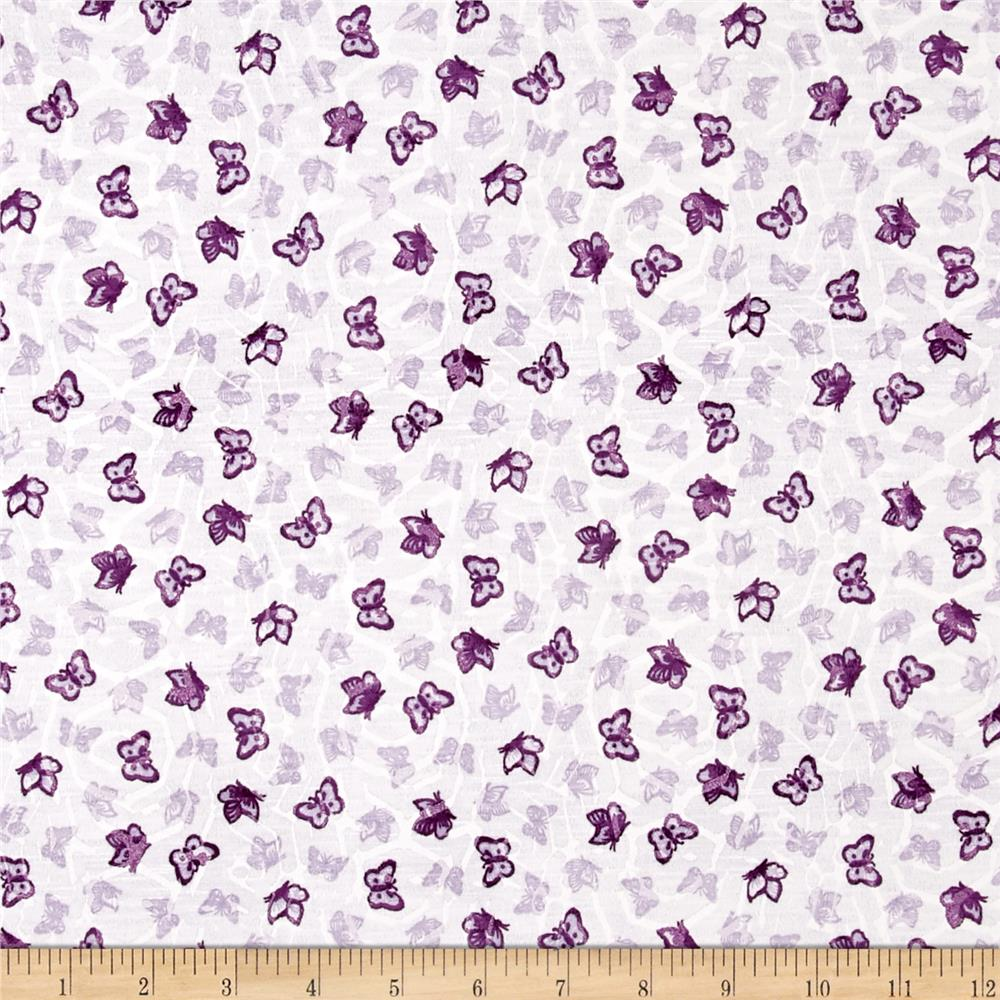 Cotton Jersey Knit Butterflies White Purple