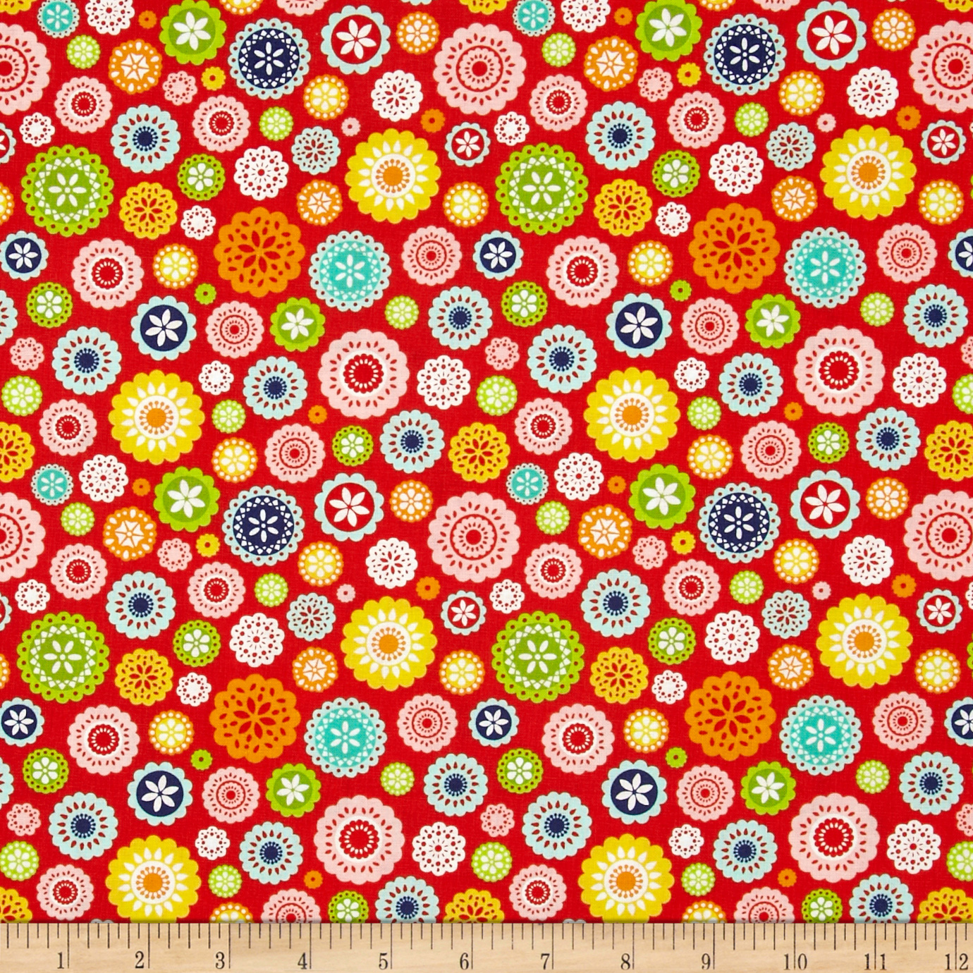 Riley Blake Lazy Day Floral Red Fabric