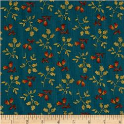 Prairie Home and Companions Pin Stripe Floral Turquoise