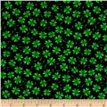 Timeless Treasures Shamrocks Tossed Shamrocks Black