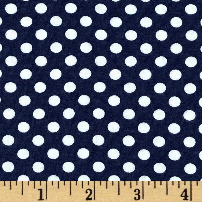 Riley Blake Cotton Jersey Knit Small Dots Navy