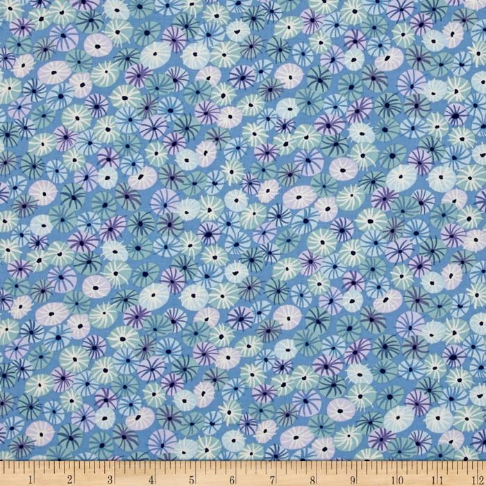 Michael Miller Sea Holly Meadow Puffs Periwinkle