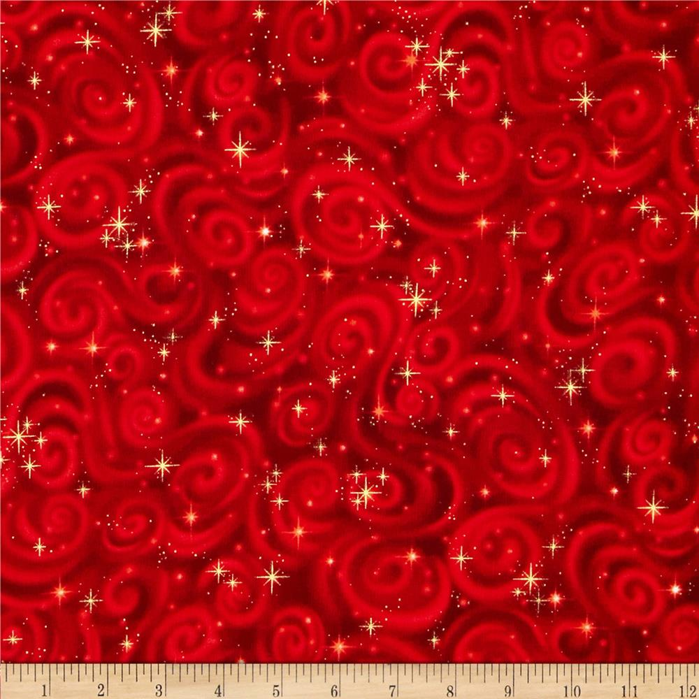 Stargazers star texture red discount designer fabric for Star design fabric