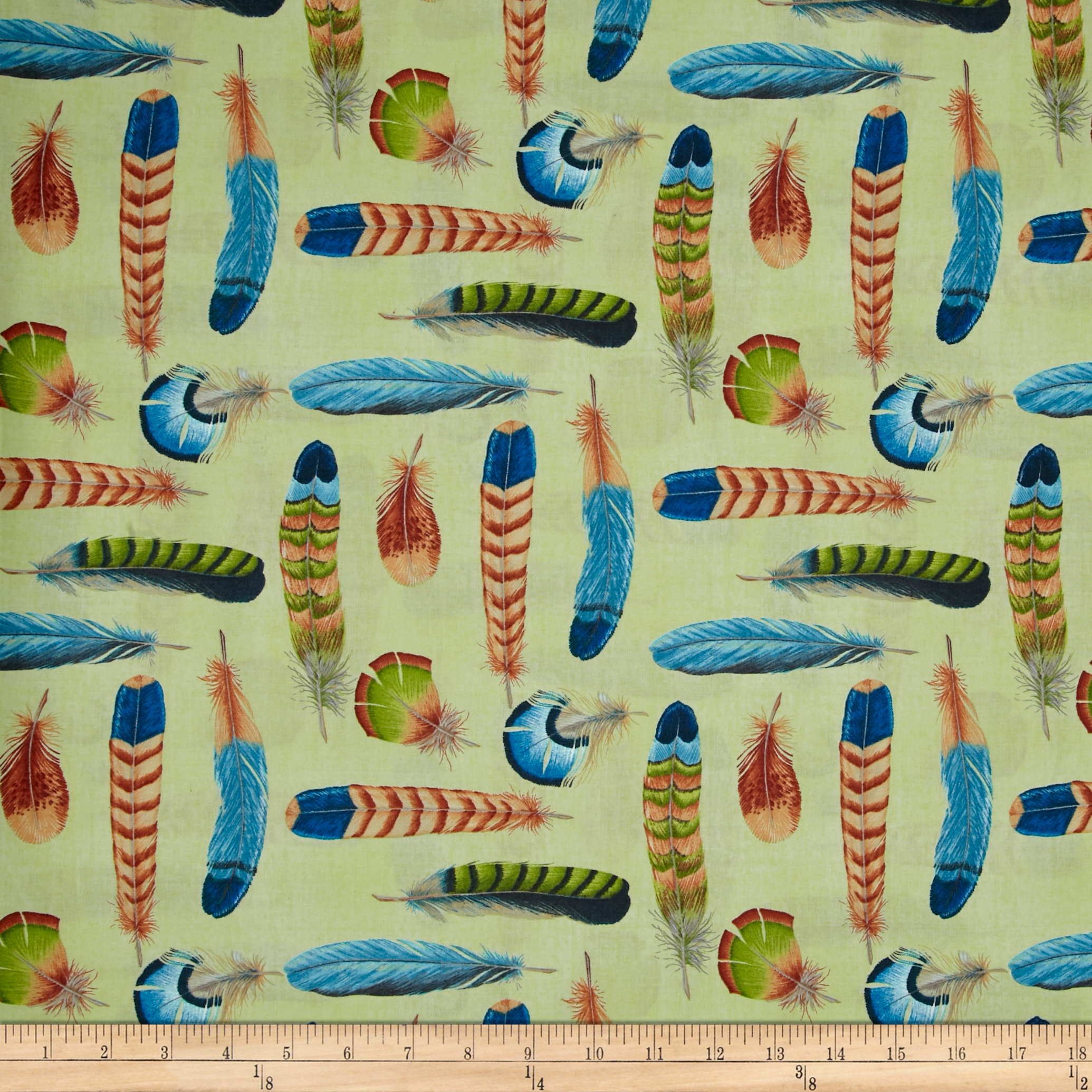 Ornithology Feathers Light Green Multi Fabric by David in USA