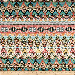 Cotton Spandex Jersey Knit Tribal White/Coral/Green