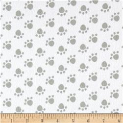 Flannel Paw Print Grey