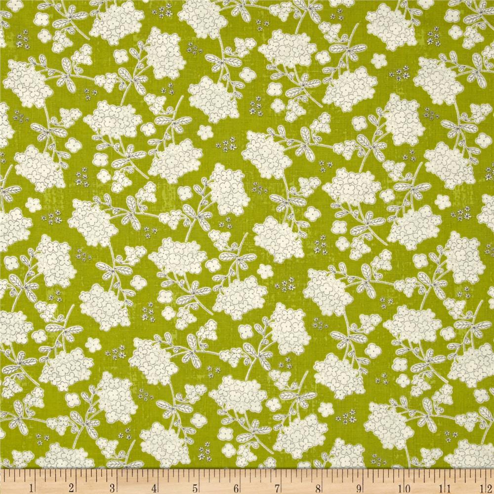 Moda Garden Project Vintage Floral Green Apple