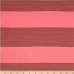 Yarn Dyed Rayon Blend Jersey Knit Stripes Coral/Brown