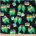 Kanvas Tropic Rainforest Love Birds Black