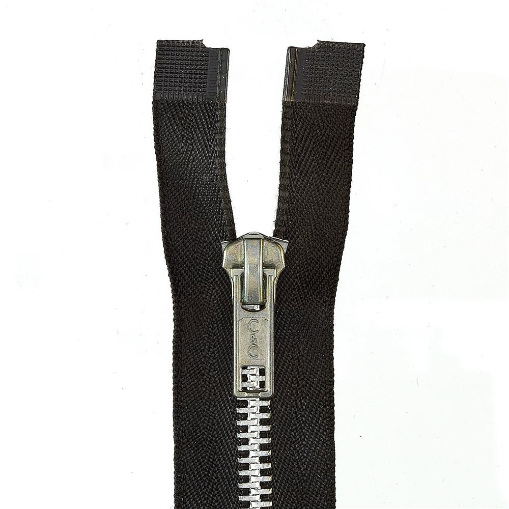 "Heavy Weight Aluminum Separating Zipper 18"" Black"