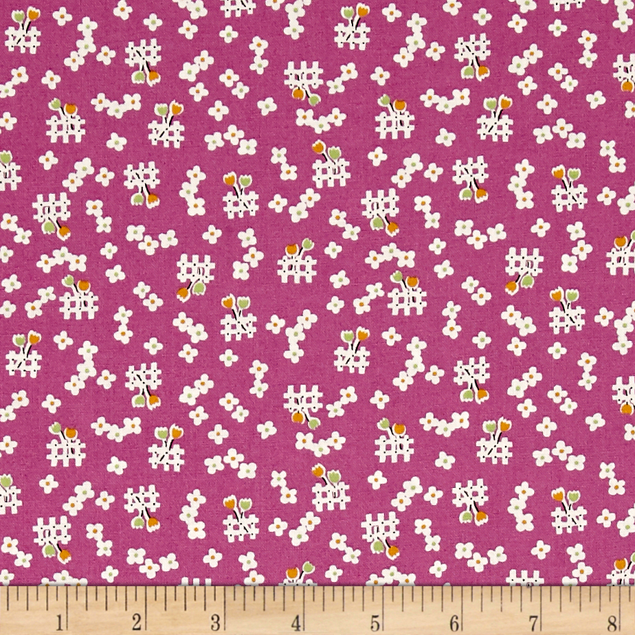 1930s House Dresses Penny Rose Toy Chest 2 Floral Purple Fabric $8.28 AT vintagedancer.com