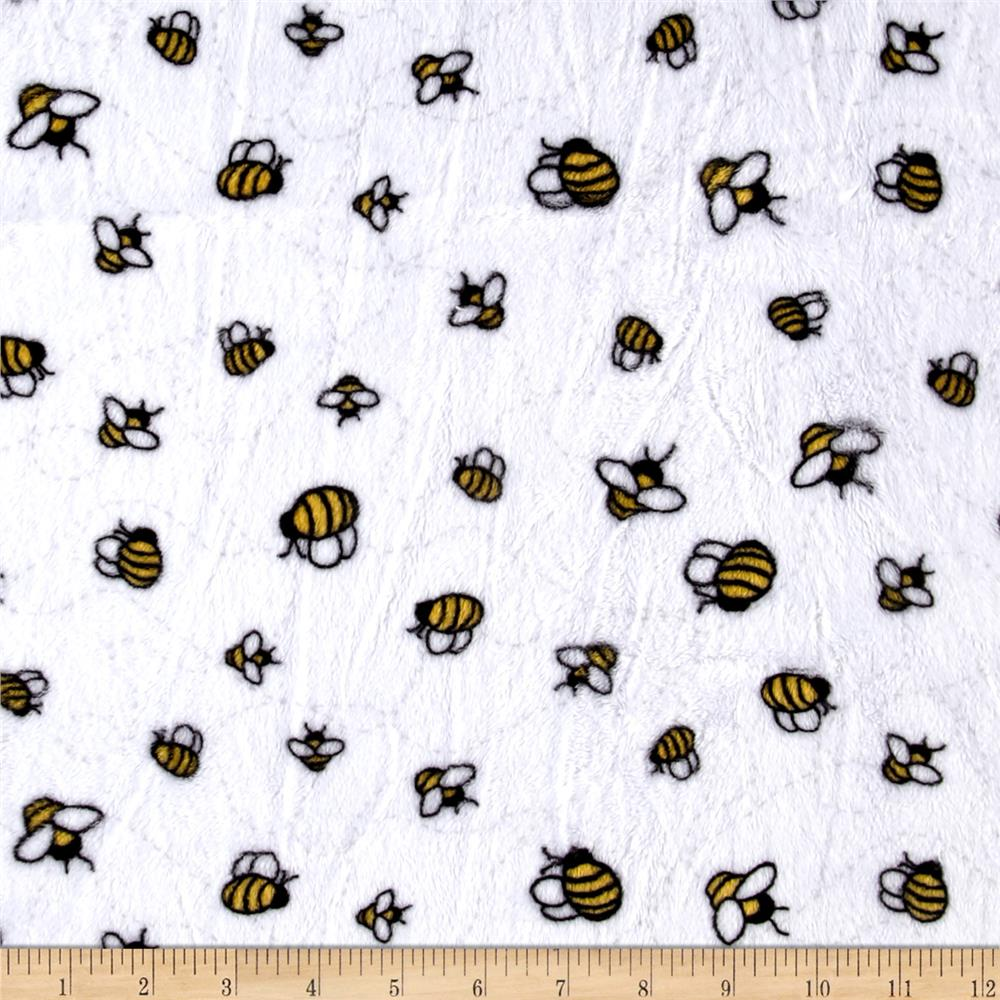 Shannon Minky Cuddle Prints Bees-A-Buzz Sunshine