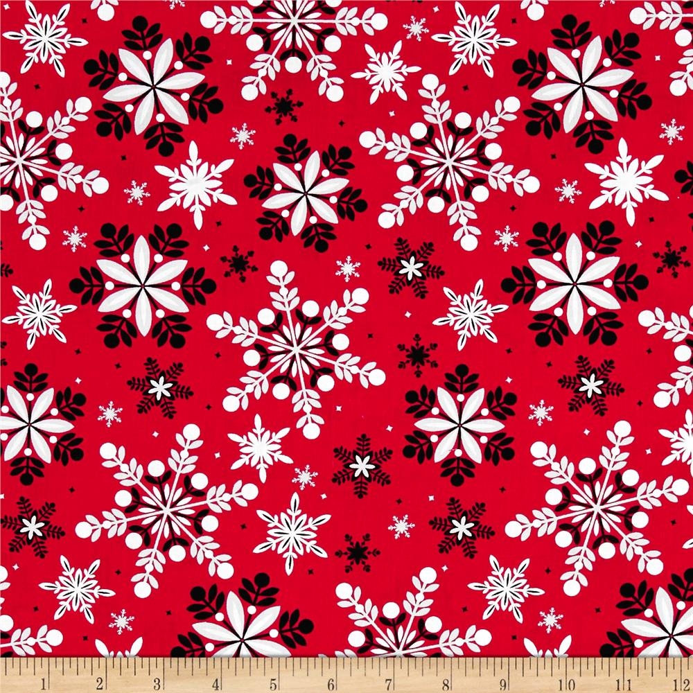 Kanvas Winter Story Packed Snowflake Red