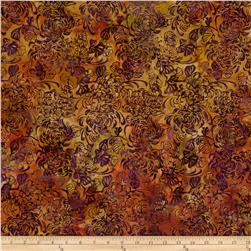 Island Batik Dancing in the Moonlight Gold/Fuchsia Floral