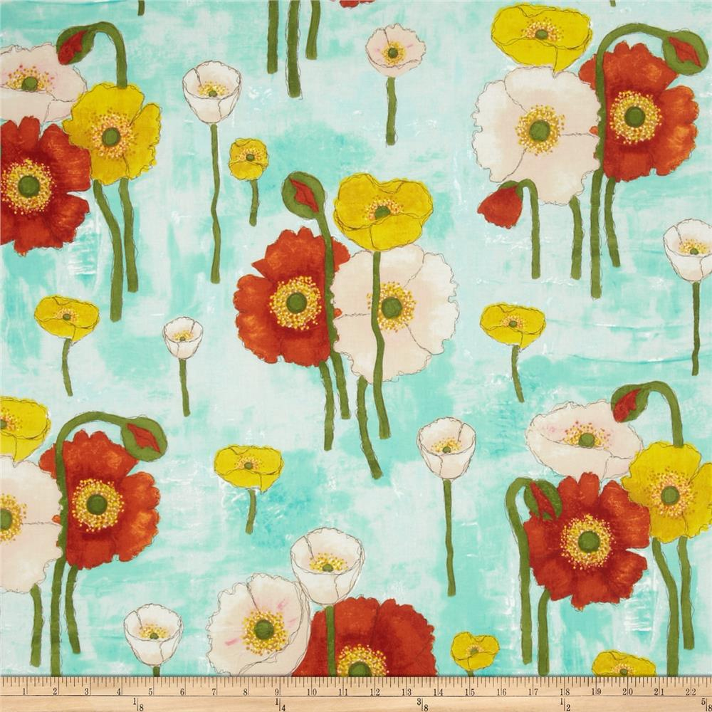 Michael Miller Vignette Gathered Poppies Aqua