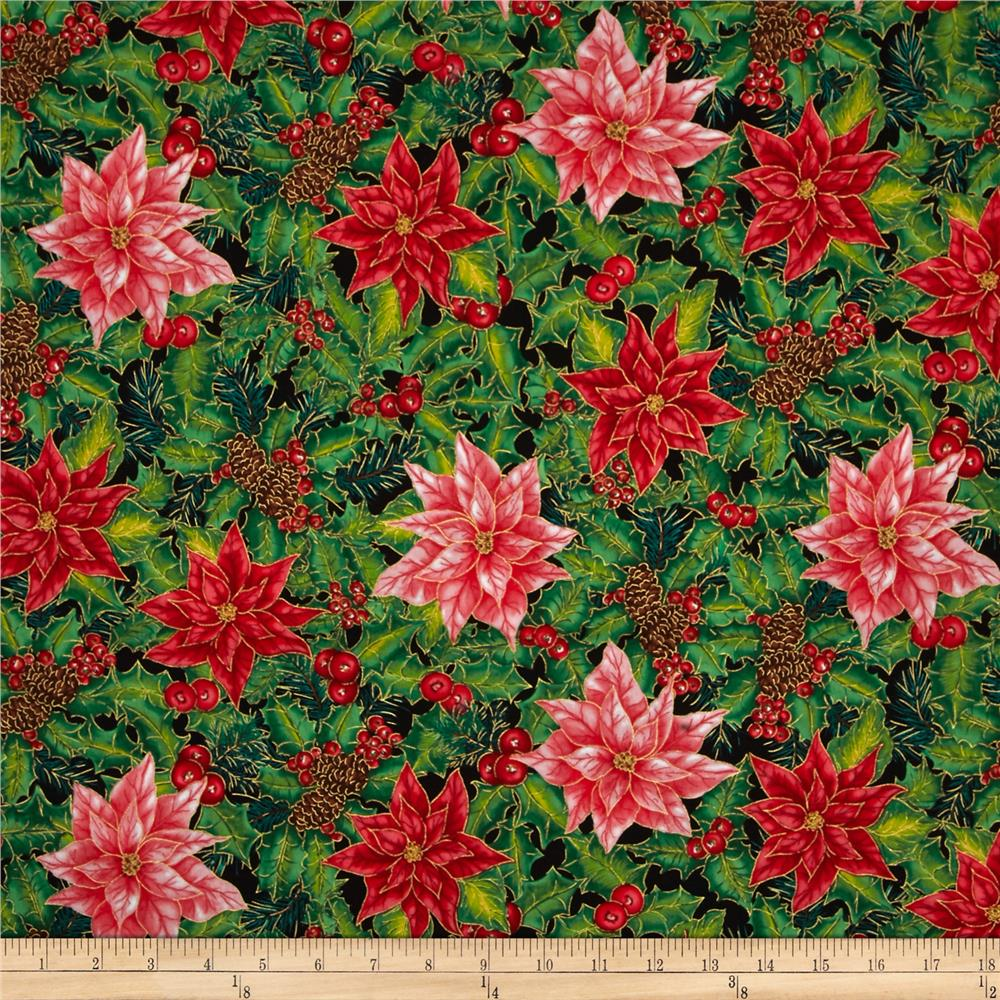 Christmas Morning Allover Metallic Poinsettias Multi