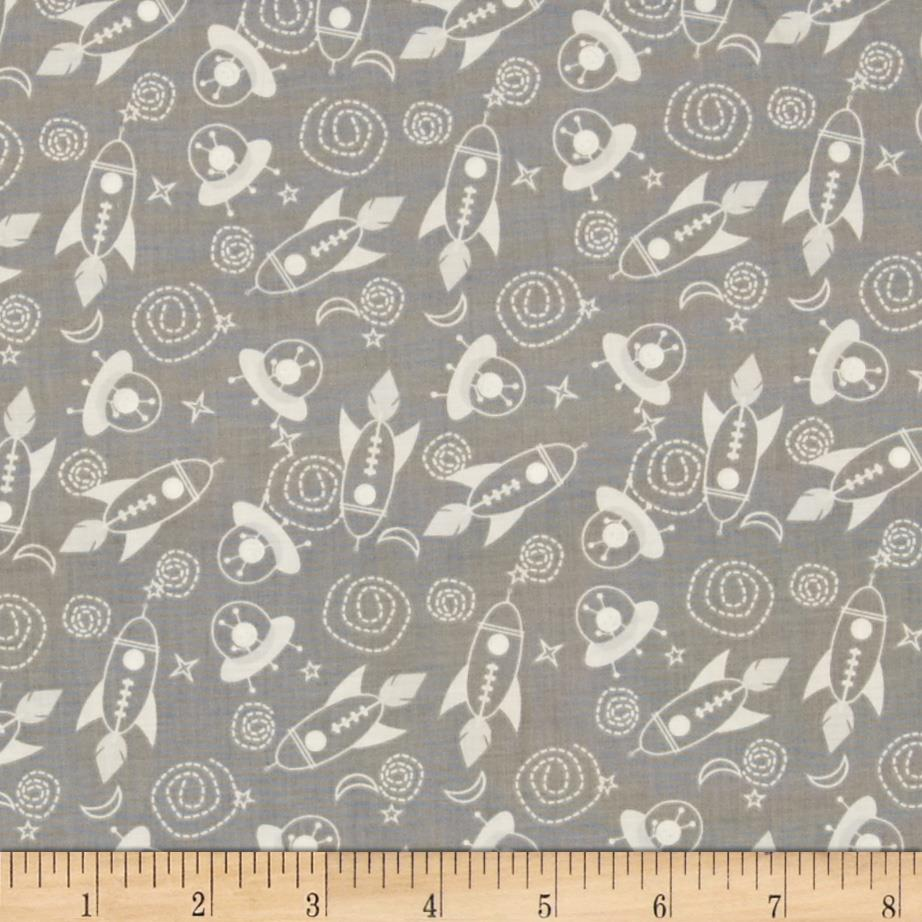 Space age tossed space ships grey discount designer for Space fabric