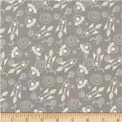 Space Age Tossed Space Ships Grey Fabric