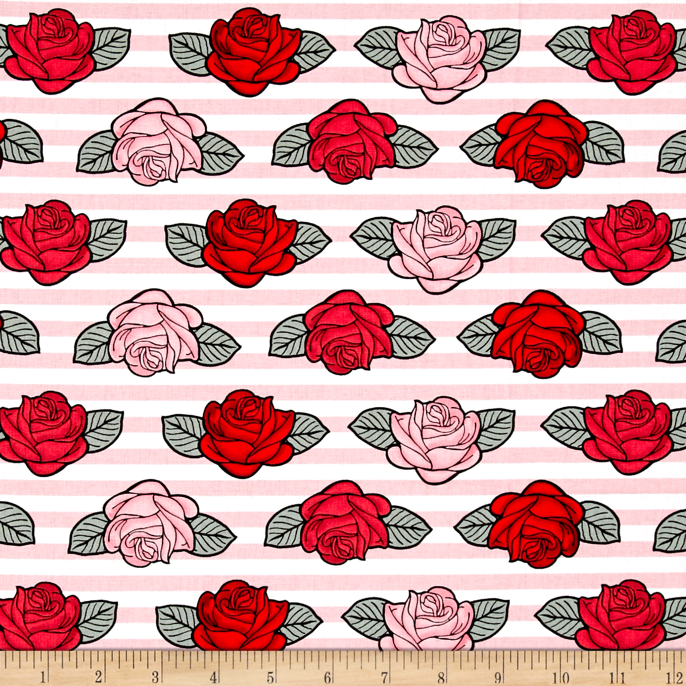 Image of Punk Rock Stripe and Roses Fabric
