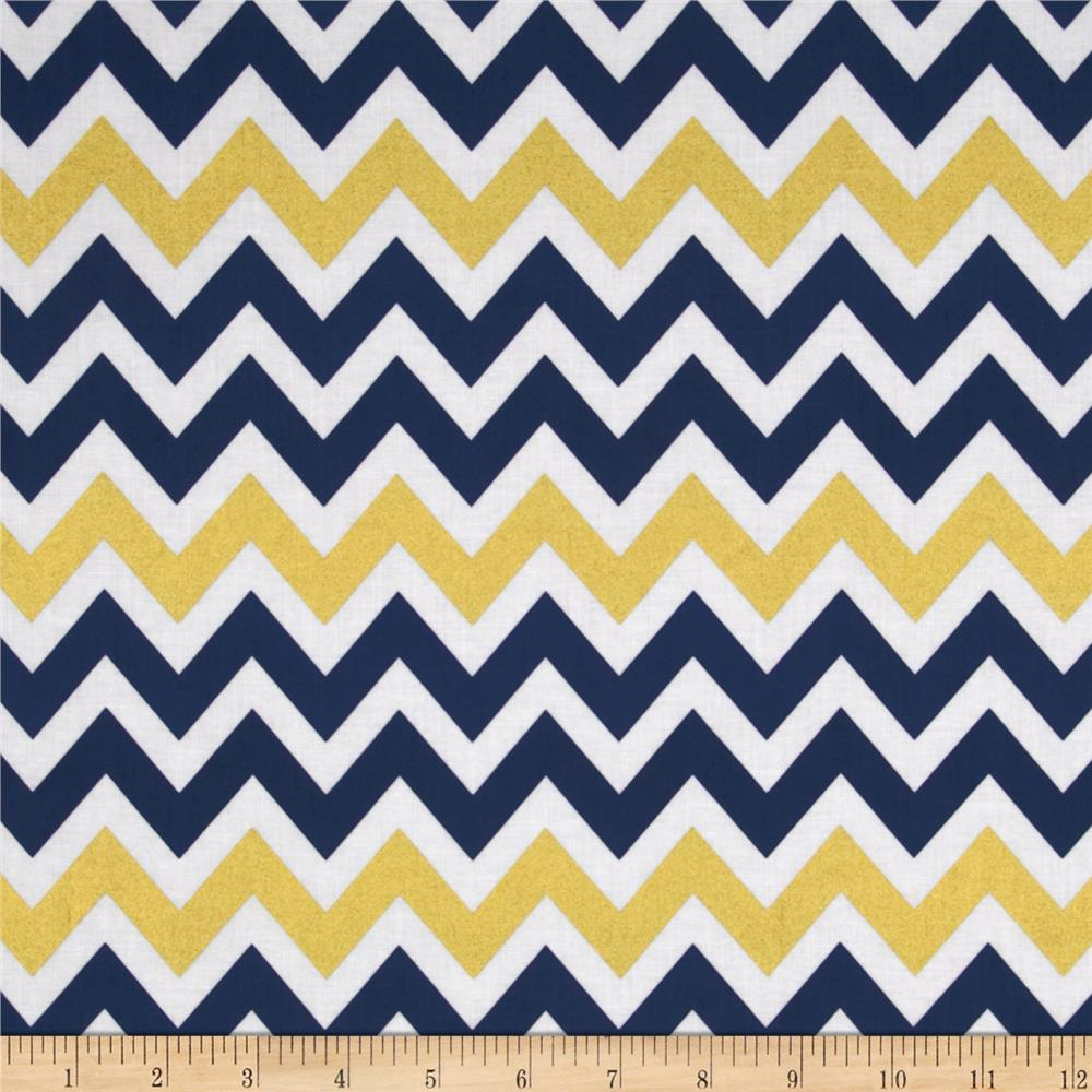 Remix Metallic Large Chevron Indigo - Discount Designer Fabric ...